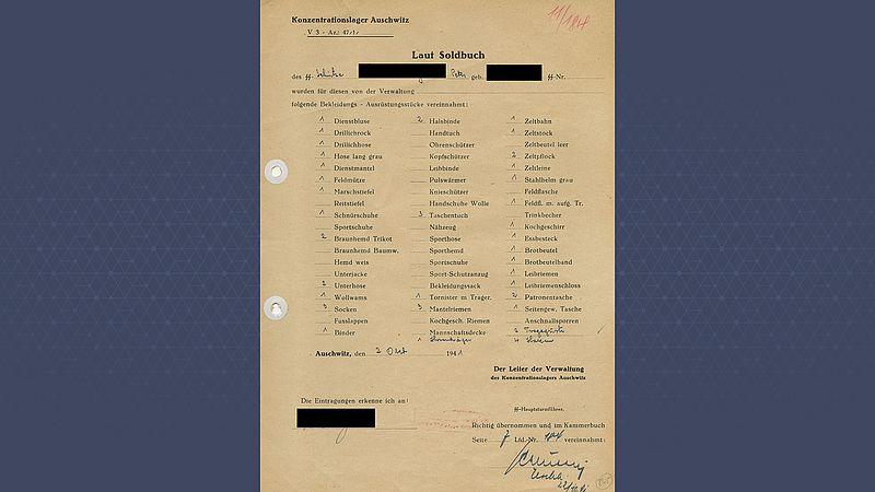 De paklijst die Piet kreeg om zich voor te bereiden op Auschwitz