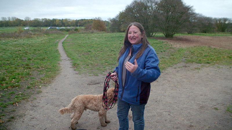 Andrea en haar eigen hond