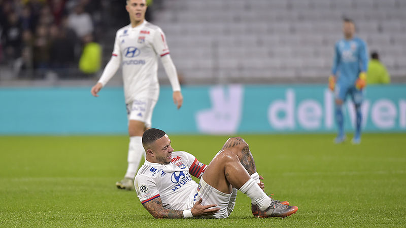 Memhis Depay afgelopen zondag in de wedstrijd tegen Stade Rennais