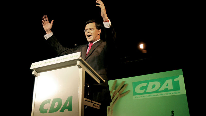 Premier Balkenende spreekt op de slotavond van de CDA campagne voor de verkiezingen in 2006