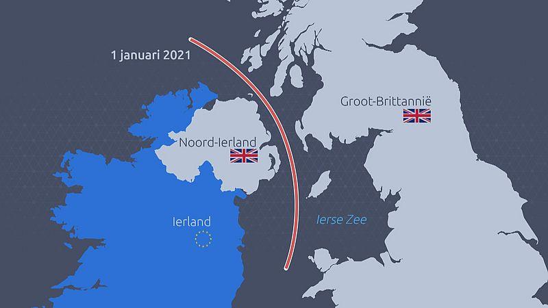 De nieuwe grens ligt in de zee, tussen Noord-Ierland en Groot Brittannië