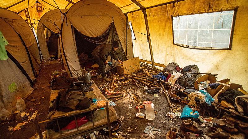 Het tentenkamp in Vucjak
