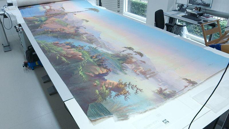 Een deel van het 23 meter lange doek.
