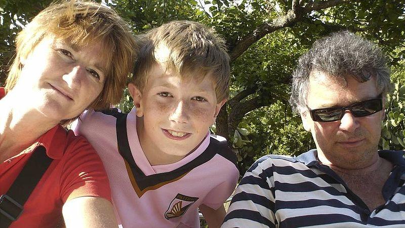 Erik van Heijningen met vrouw Tina en zoon Zeger. Ze kwamen om tijdens de ramp met MH17.