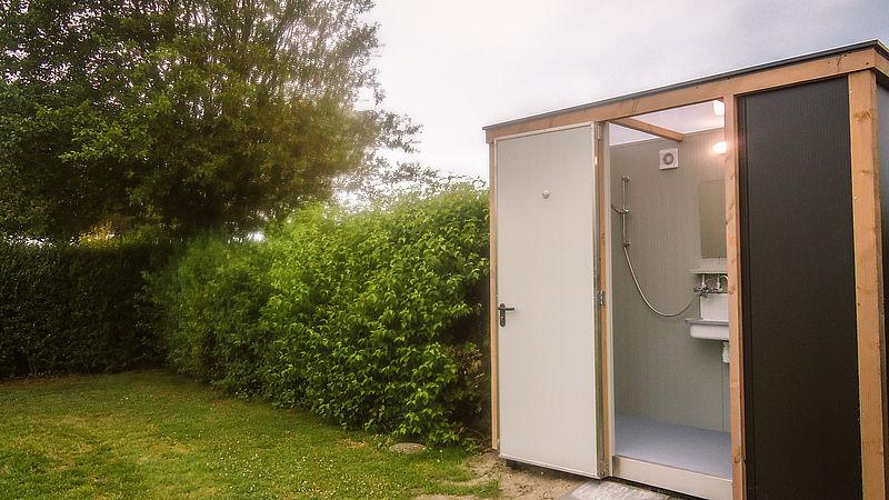 Privé sanitair unit van camping Klaverweide