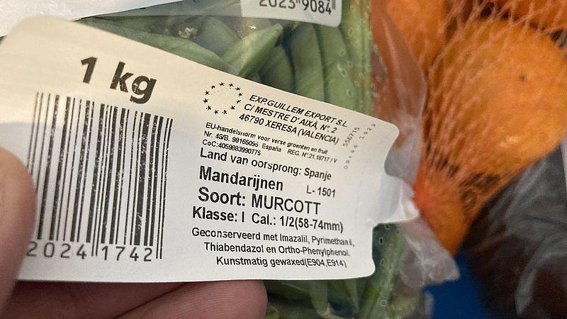 Het etiket van de mandarijnen van de Lidl