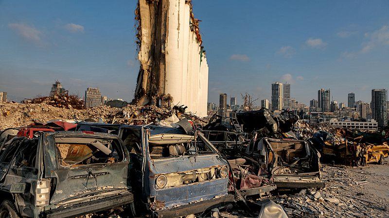 Zo zag het havengebied van Beiroet er twee weken geleden nog steeds uit