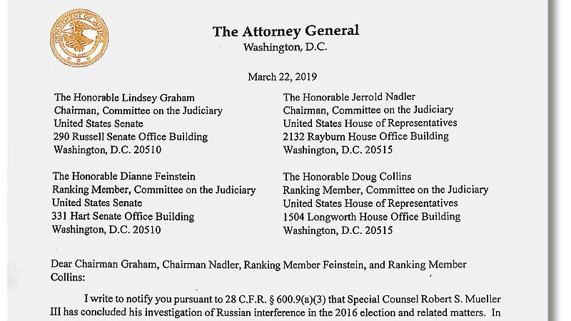 Brief minister van Justitie William Barr
