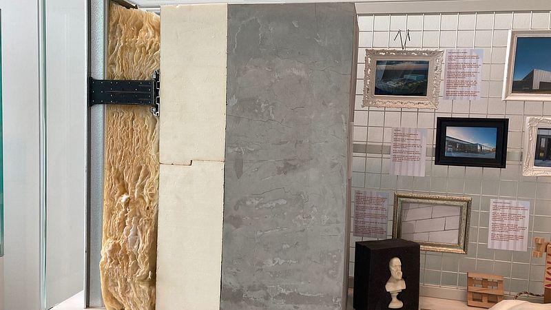 Een voorbeeld van hoe de muren van het nieuwe Collectie Centrum Nederland zijn opgebouwd