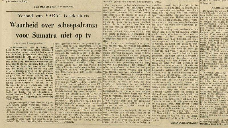 Kranten artikel reportage ondergang Van Imhoff