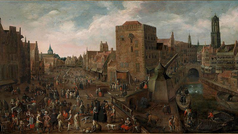 Droochsloot, Joost Cornelisz. (Utrecht na 1585 - Utrecht 1666) De Ganzenmarkt  en de Stadhuisbrug te Utrecht, ca. 1620 doek;