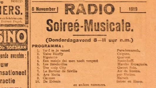 De advertentie waarin Idzerda zijn radio-programma aankondigde