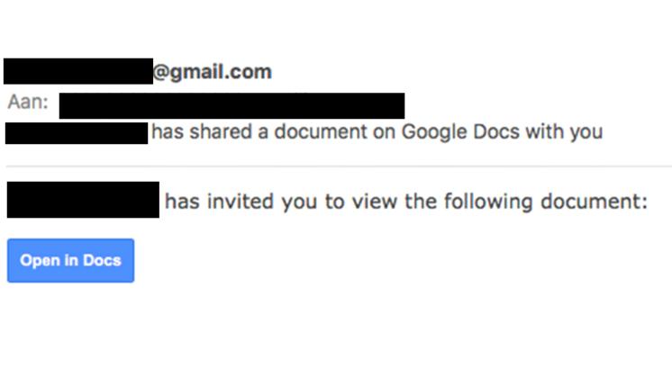 Pas op voor mail met Google Docs link
